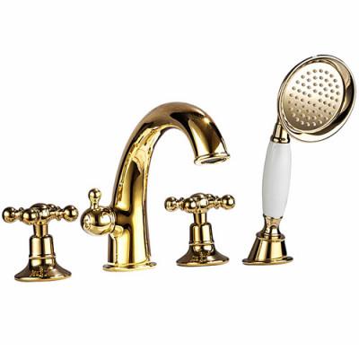 Смеситель Gappo G1189-6 на борт ванны золото