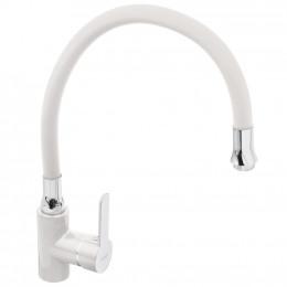 Смеситель Frap F4041 для кухни гибкий излив белый
