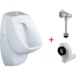 Комплект Писсуар Santek Гала WH301774 подвесной + Смывное устройство AlcaPlast ATS001 кнопочный вентиль + Сифон для писсуара AlcaPlast A45B
