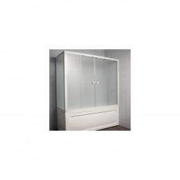 Шторка на ванну 1MarKa 80 боковая профиль белый, стекло рифленое