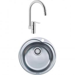 Комплект Мойка кухонная Franke Pamira RON 610-41 сталь + Смеситель VitrA Fold S Sink Mixer A42155EXP для кухонной мойки