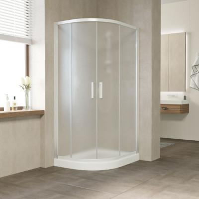 Душевой уголок Vegas Glass ZS-F 90*80 01 10 профиль белый, стекло сатин