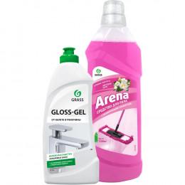 Комплект Grass Моющее средство Arena цветущий лотос 1 л + Чистящее средство Gloss gel 500 мл