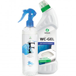 Комплект Grass Средство для чистки сантехники WC- Gel 750 мл + Жидкий освежитель воздуха Fresh 400 мл