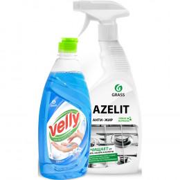 Комплект Grass Чистящее средство Azelit 600 мл + Средство для мытья посуды Velly Нежные ручки 500 мл