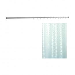 Комплект Штора для ванной Bacchetta 180х200 Dama + Карниз для ванны Aquanet прямой 170 см